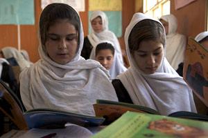 Afghan girls with Hoopoe Books