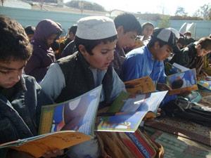 Afghan kids with Hoopoe Books